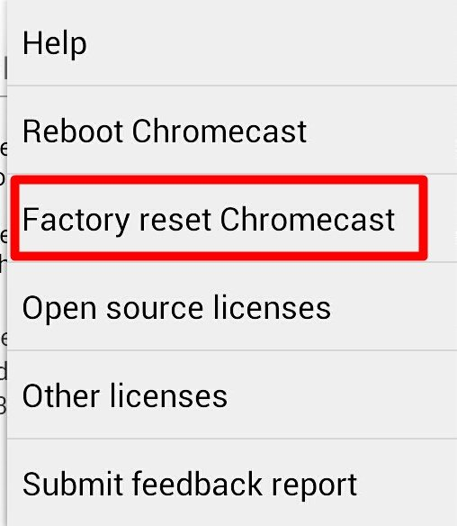 reset chromecast (factory data reset)